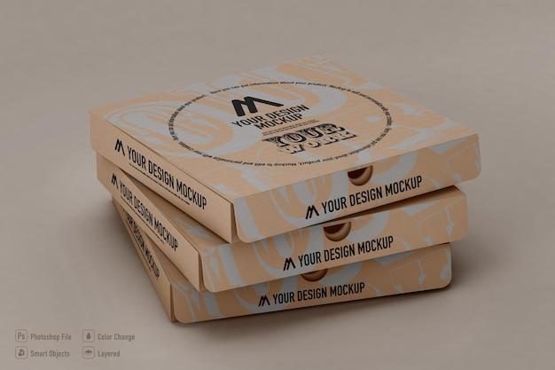 Scatole per pizza mockup design isolato