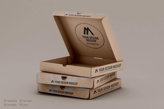 Scatole per pizza mockup design isolato Psd Premium