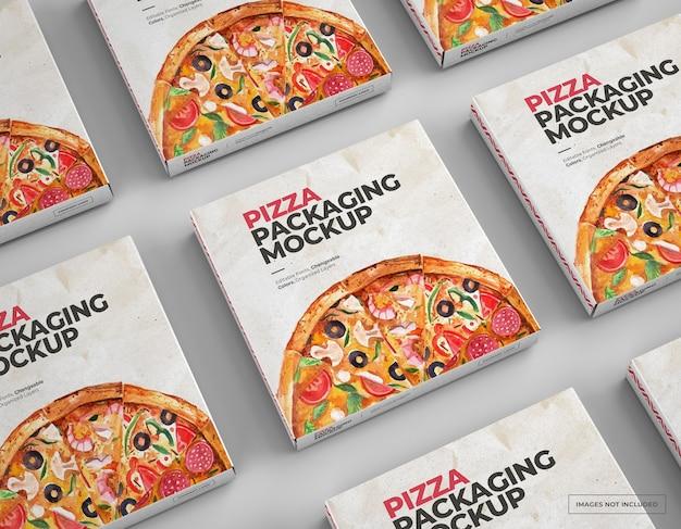 Mockup di scatole per pizza con design modificabile