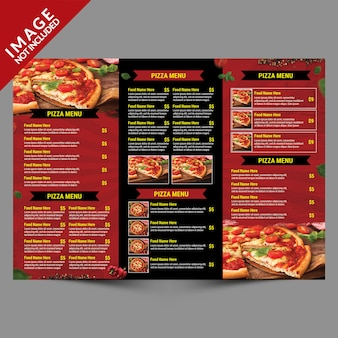 Pizza delivery service trifold menu inside tempalte
