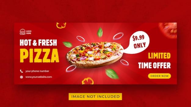 Modello di banner per la copertina di facebook per la promozione del menu del cibo per pizza
