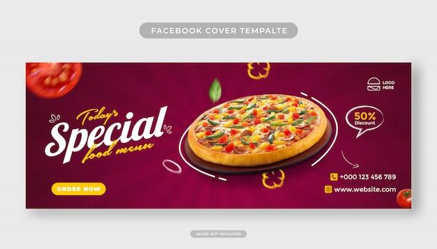 Modello di banner copertina facebook di promozione menu cibo pizza