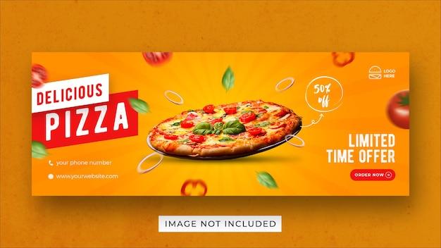 Modello di banner di copertina di facebook per la promozione del menu del cibo della pizza