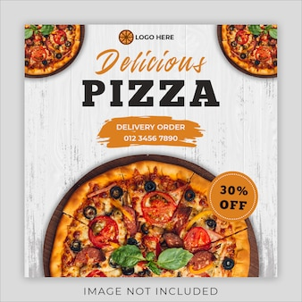 Modello sociale dell'insegna dell'alberino del instagram di media del menu di promozione dell'alimento della pizza