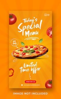 Modello di banner di storia di instagram di media sociali di promozione del menu di cibo della pizza