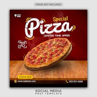 Modello di banner di social media di promozione menu pizza