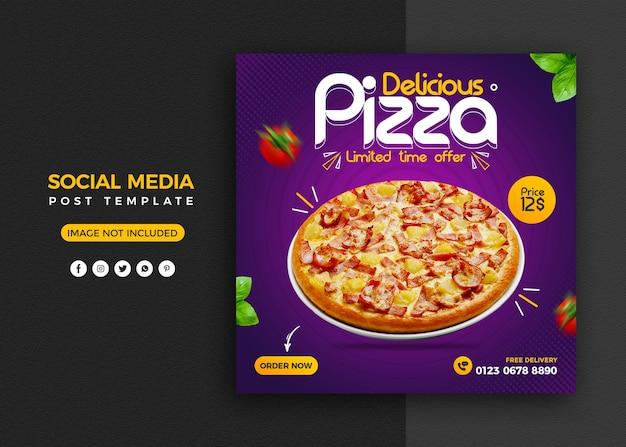 Promozione sui social media del menu pizza e modello di progettazione di post banner instagram