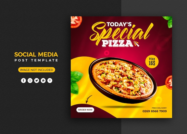 Pizza promozione sui social media e modello di progettazione post banner instagram