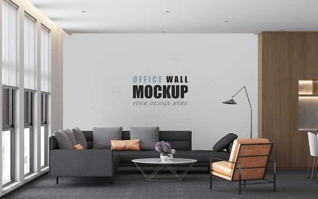 Un luogo per ricevere gli ospiti nel mockup della parete della sala gestione