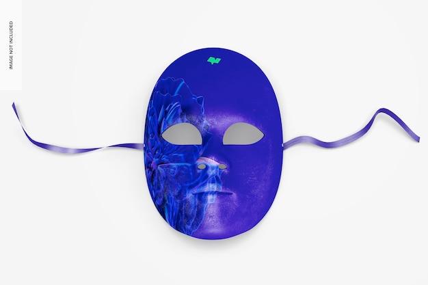 Mockup di maschera a pieno facciale veneziana semplice, vista dall'alto