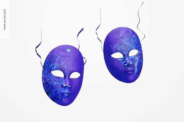 Mockup di maschere a pieno facciale veneziane semplici, cadenti