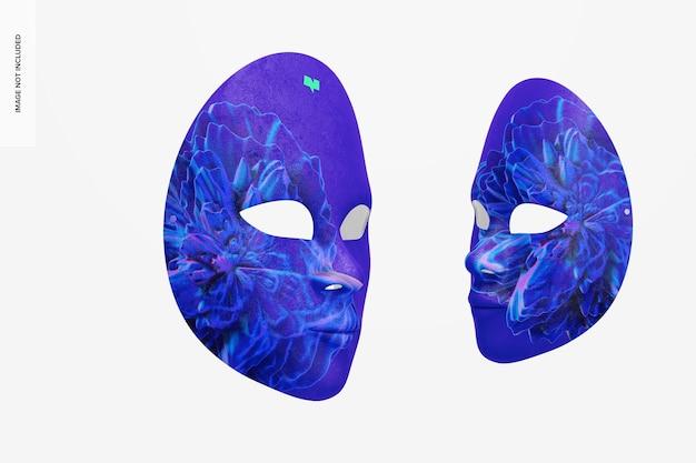 Mockup di maschere a pieno facciale veneziane semplici, prospettiva
