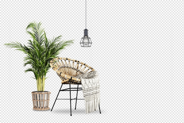 Pianta e sedia nel rendering 3d