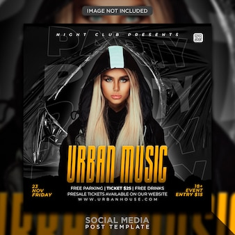 Plantilla de banner web e publicacin de flyer de fiesta de club dj