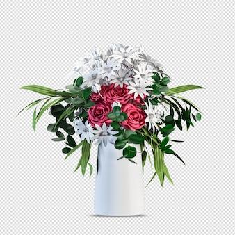 Progettazione di fiori di piante in rendering 3d isolato