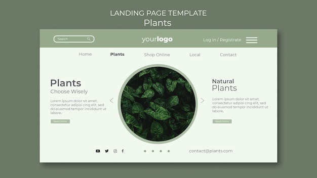 Modello di pagina di destinazione del negozio di piante