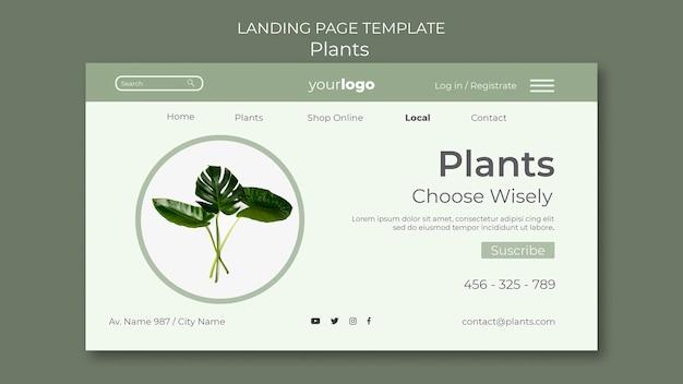 Pagina di destinazione del modello di negozio di piante