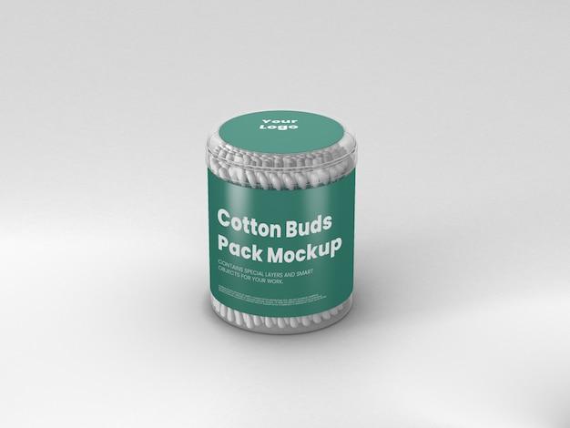 Scatola di plastica con cotton fioc mockup