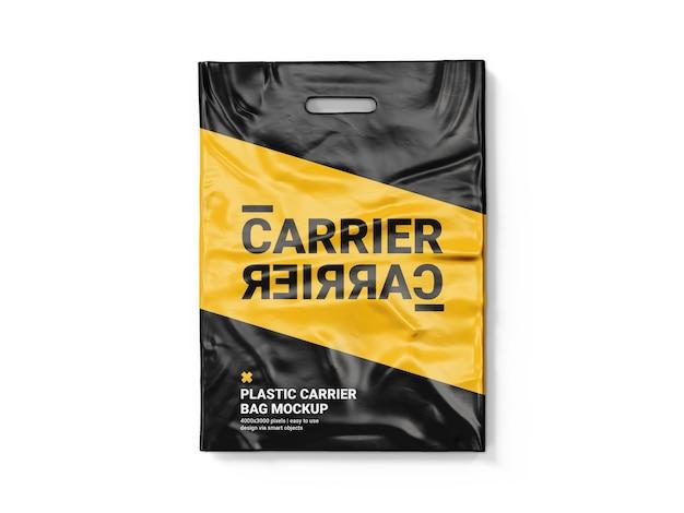 Modello di mockup del sacchetto di plastica del trasportatore