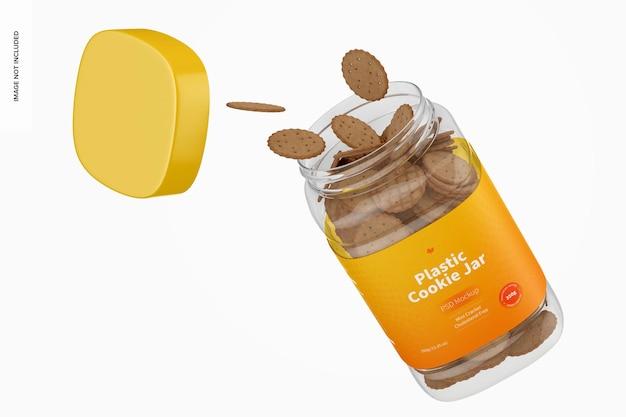 Mockup di barattolo di biscotti in plastica che cade
