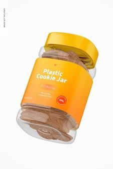 Mockup di barattolo di biscotti in plastica, galleggiante