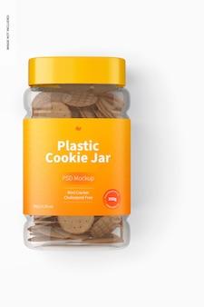 Mockup di barattolo di biscotti in plastica, vista dall'alto