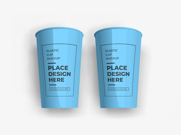 Mockup di imballaggio per bicchieri di plastica