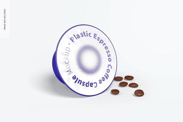 Mockup di capsule di caffè espresso in plastica con grani