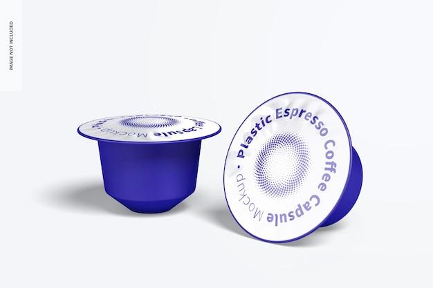 Capsule di caffè espresso in plastica mockup, in piedi e cadute