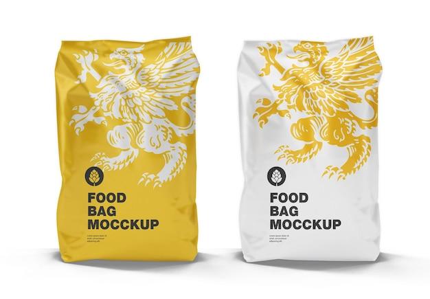 Mockup di sacchetti di plastica per alimenti, vista frontale