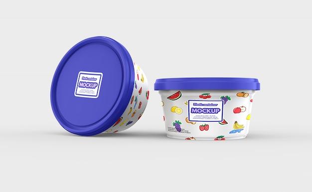 Mockup contenitore di plastica per alimenti