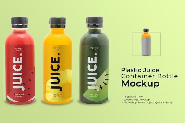 Mockup di etichette per bottiglie per bevande in plastica