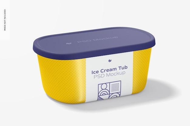 Mockup di vaschetta per gelato in plastica