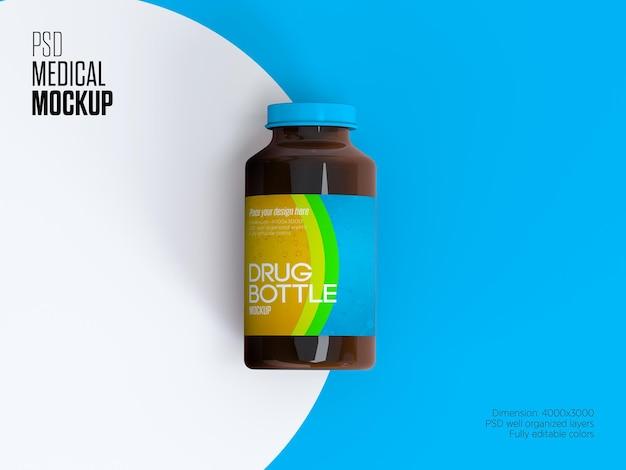 Mockup di bottiglia di medicina di plastica