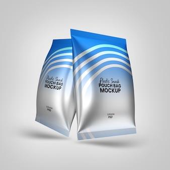 Sacchetti di plastica con mockup di snack