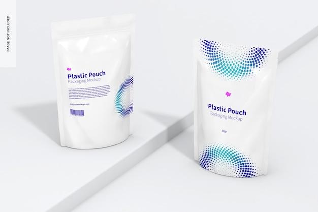 Mockup di imballaggio di sacchetti di plastica, vista prospettica