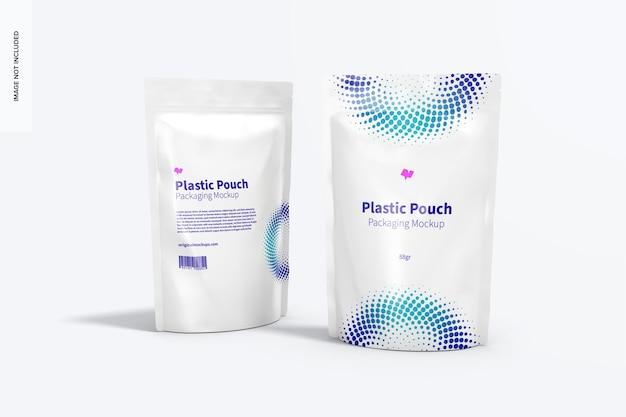 Mockup di imballaggio di sacchetti di plastica