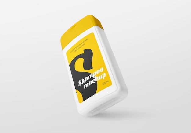 Mockup di bottiglia di shampoo in plastica
