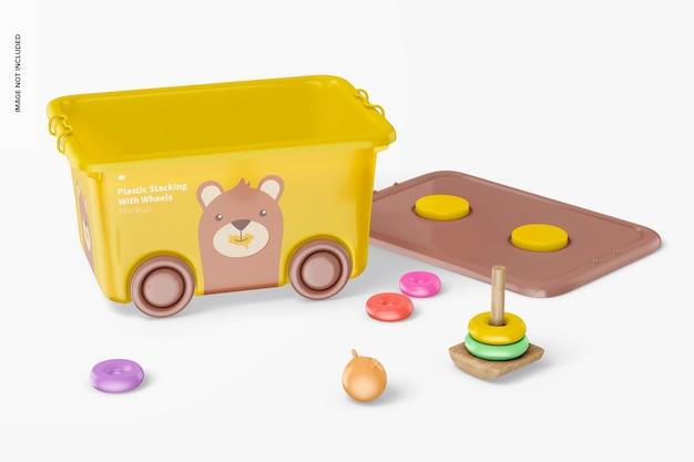 Cestino impilabile in plastica con ruote e mockup di giocattoli