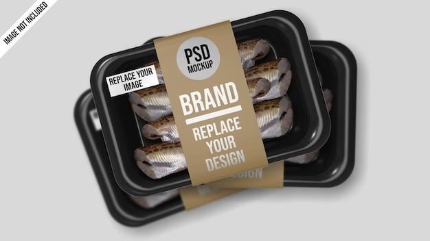 Design mockup di cibo sottovuoto vassoio di plastica