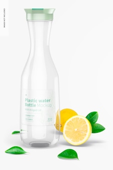 Mockup di bottiglia d'acqua in plastica con coperchio incernierato, vista frontale