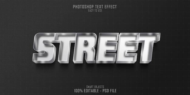 Modello di effetto di stile di testo 3d strada grigio platino