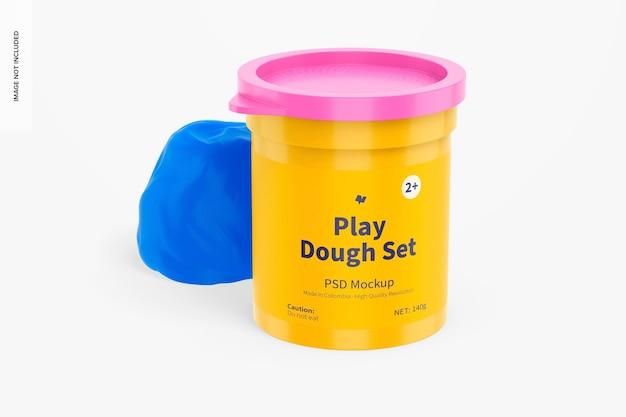 Play dough set mockup, vista frontale