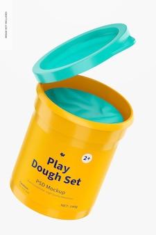 Play dough set mockup, aperto