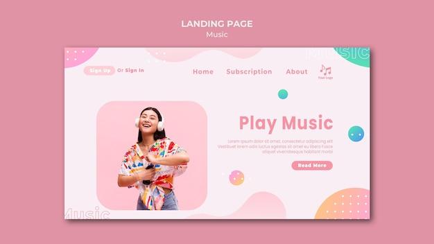 Riproduci il modello della pagina di destinazione della musica