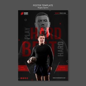Modello di poster che gioca a rugby