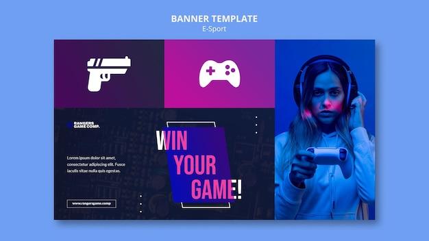 Modello di banner orizzontale per giocare ai videogiochi