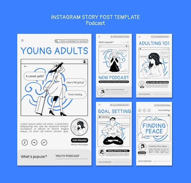 Modello di post di storia di instagram podcast