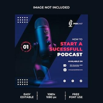 Modello di social media del canale di modellazione podcast