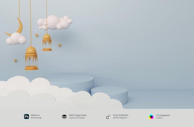Podio 3d simboli realistici di arabo islamico ramadhan kareem ed eid mubarak Psd Premium